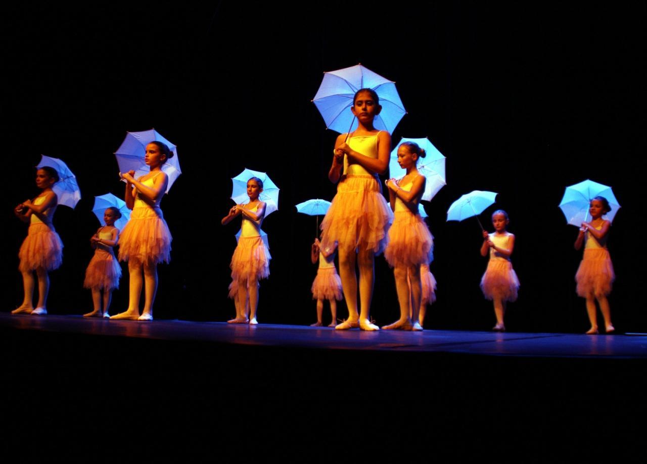 Les jeunes danseuses aux parapluies