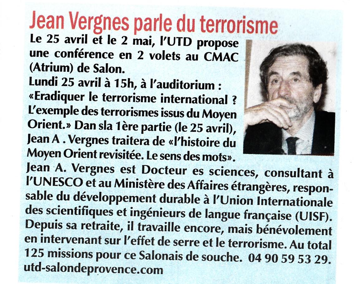 Jean Vergne à L'UTD Salon de Provence