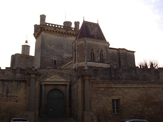 Le chateau (au fond le donjon  Tour de Bermonde)